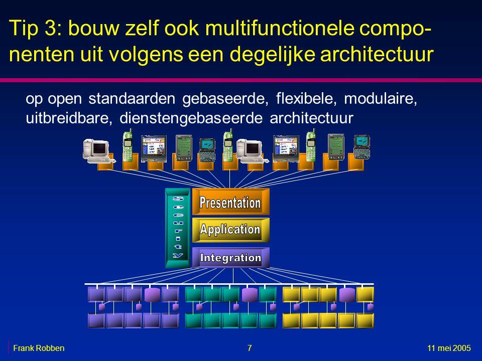 Tip 3: bouw zelf ook multifunctionele compo-nenten uit volgens een degelijke architectuur
