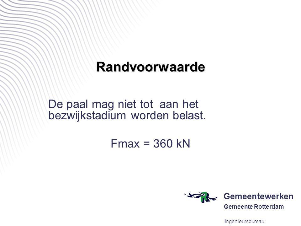 Randvoorwaarde De paal mag niet tot aan het bezwijkstadium worden belast. Fmax = 360 kN