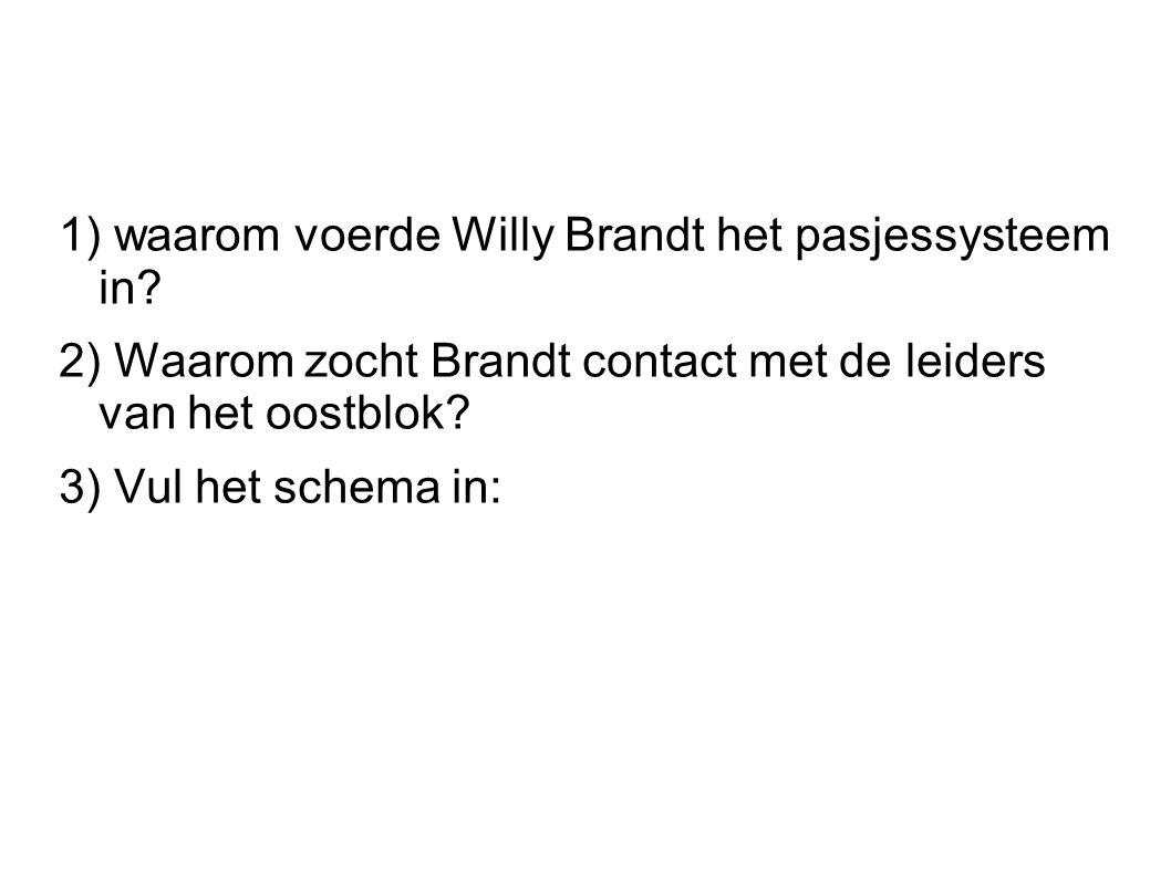 1) waarom voerde Willy Brandt het pasjessysteem in