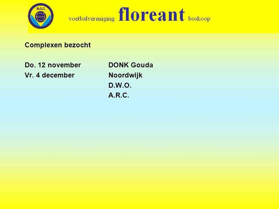 Complexen bezocht Do. 12 november DONK Gouda Vr. 4 december Noordwijk D.W.O. A.R.C.