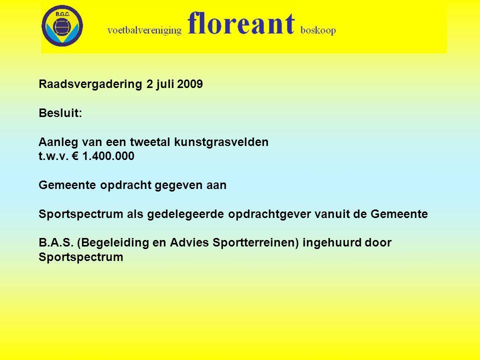 Raadsvergadering 2 juli 2009 Besluit: Aanleg van een tweetal kunstgrasvelden t.w.v.