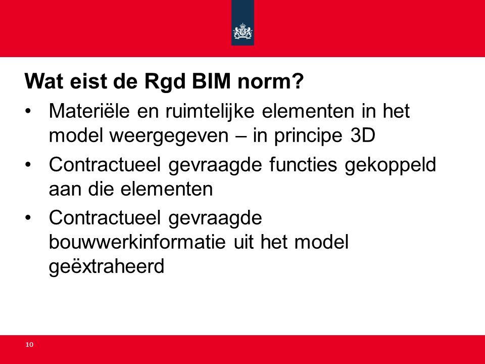 Wat eist de Rgd BIM norm Materiële en ruimtelijke elementen in het model weergegeven – in principe 3D.