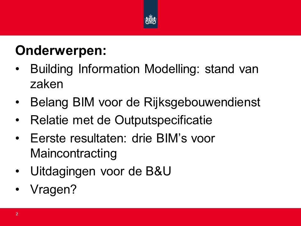 Onderwerpen: Building Information Modelling: stand van zaken
