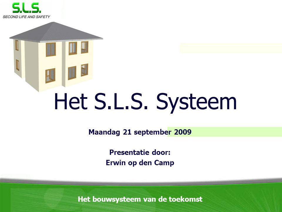 Maandag 21 september 2009 Presentatie door: Erwin op den Camp