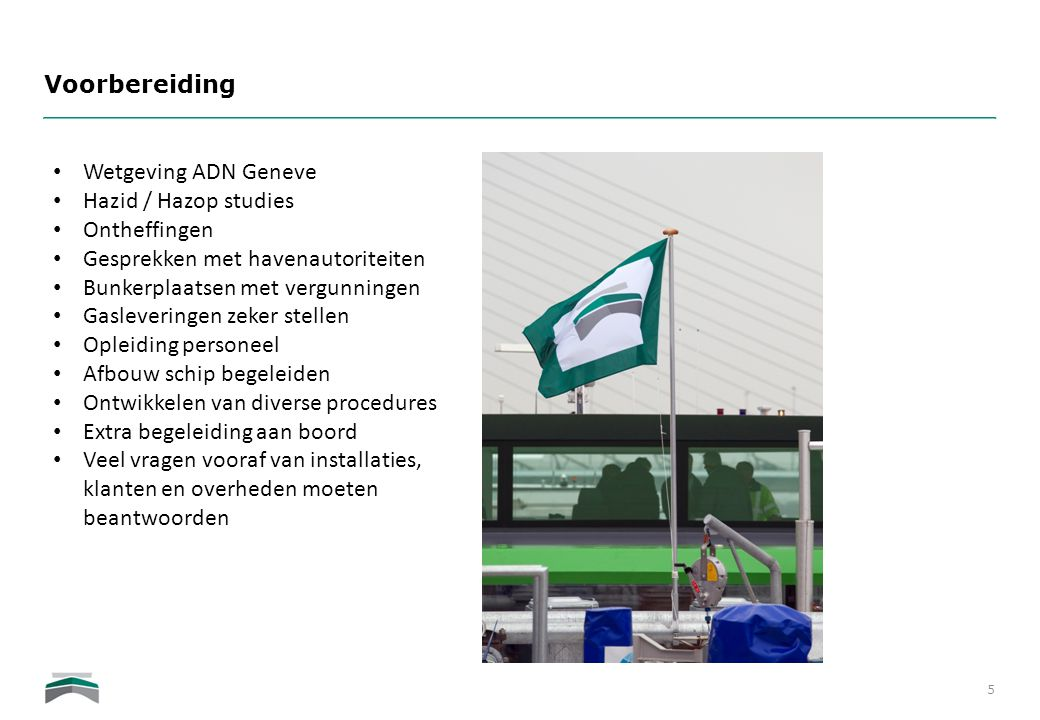 Voorbereiding Wetgeving ADN Geneve. Hazid / Hazop studies. Ontheffingen. Gesprekken met havenautoriteiten.