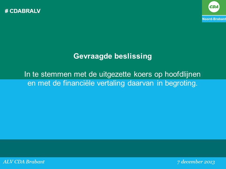 # CDABRALV Gevraagde beslissing. In te stemmen met de uitgezette koers op hoofdlijnen en met de financiële vertaling daarvan in begroting.