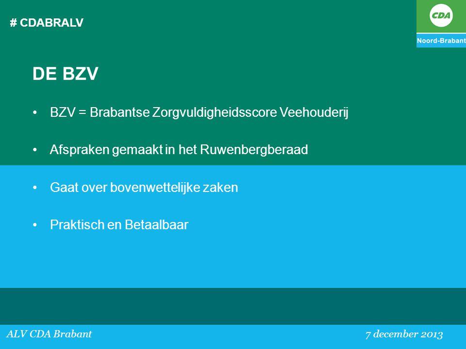 DE BZV BZV = Brabantse Zorgvuldigheidsscore Veehouderij