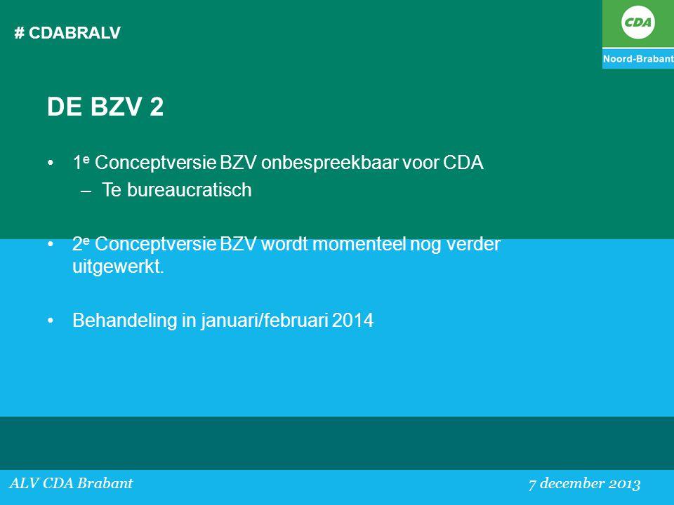 DE BZV 2 1e Conceptversie BZV onbespreekbaar voor CDA