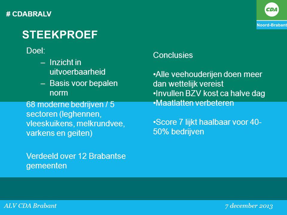 STEEKPROEF Doel: Inzicht in uitvoerbaarheid Conclusies