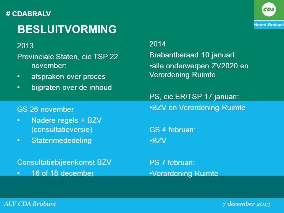 BESLUITVORMING 2014 2013 Brabantberaad 10 januari:
