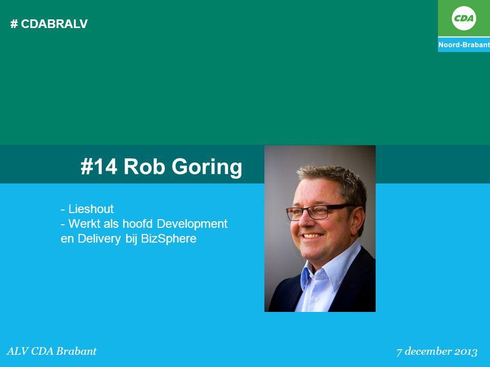 # CDABRALV #14 Rob Goring. - Lieshout - Werkt als hoofd Development en Delivery bij BizSphere.