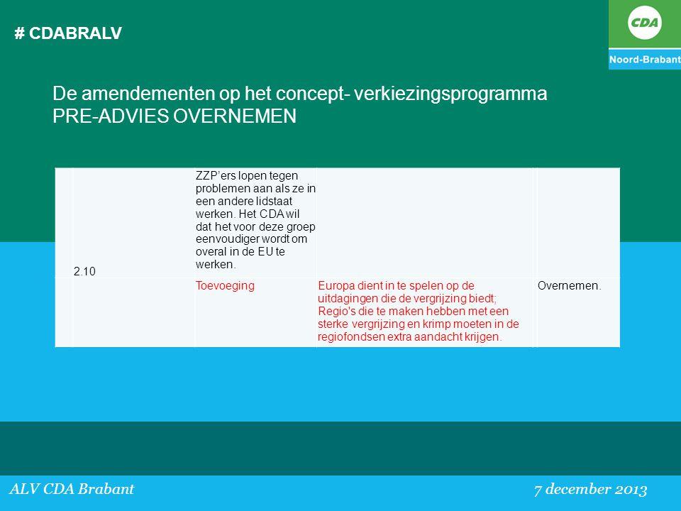 # CDABRALV De amendementen op het concept- verkiezingsprogramma PRE-ADVIES OVERNEMEN. 2.10.