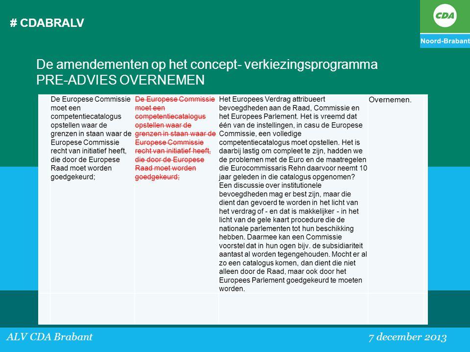 # CDABRALV De amendementen op het concept- verkiezingsprogramma PRE-ADVIES OVERNEMEN.