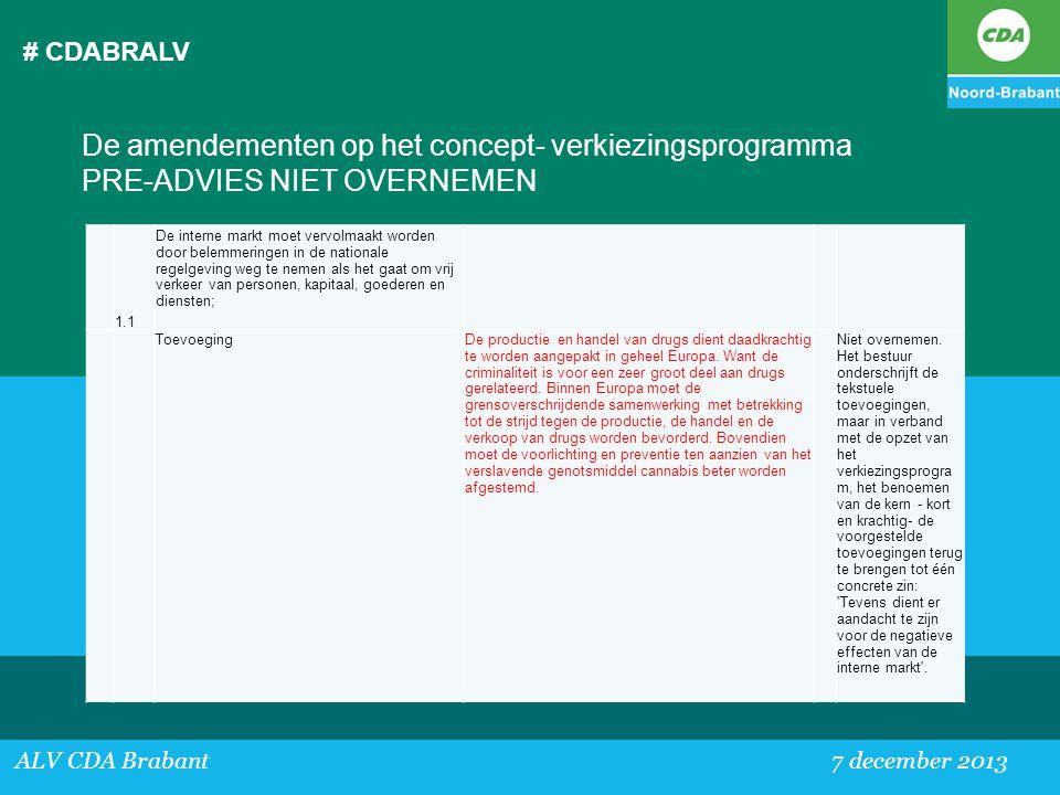 # CDABRALV De amendementen op het concept- verkiezingsprogramma PRE-ADVIES NIET OVERNEMEN. 1.1.