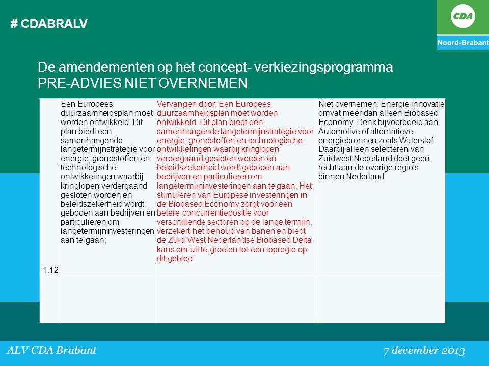 # CDABRALV De amendementen op het concept- verkiezingsprogramma PRE-ADVIES NIET OVERNEMEN. 1.12.