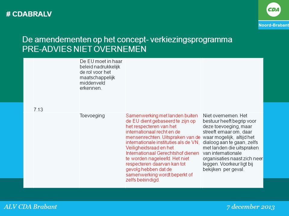 # CDABRALV De amendementen op het concept- verkiezingsprogramma PRE-ADVIES NIET OVERNEMEN. 7.13.