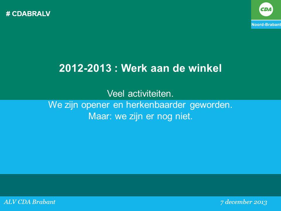 2012-2013 : Werk aan de winkel Veel activiteiten.