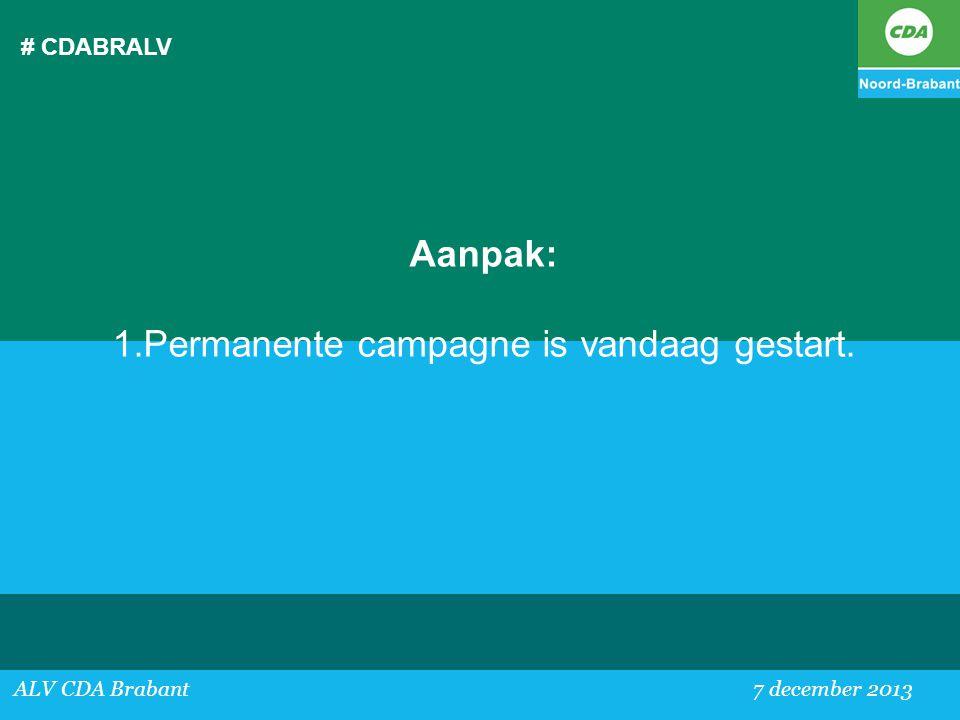 Permanente campagne is vandaag gestart.