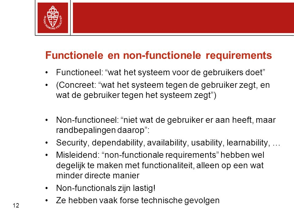 Functionele en non-functionele requirements