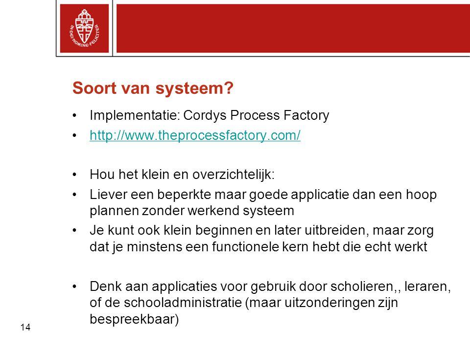 Soort van systeem Implementatie: Cordys Process Factory