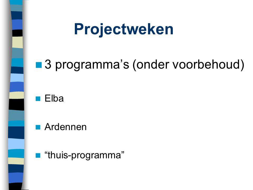Projectweken 3 programma's (onder voorbehoud) Elba Ardennen