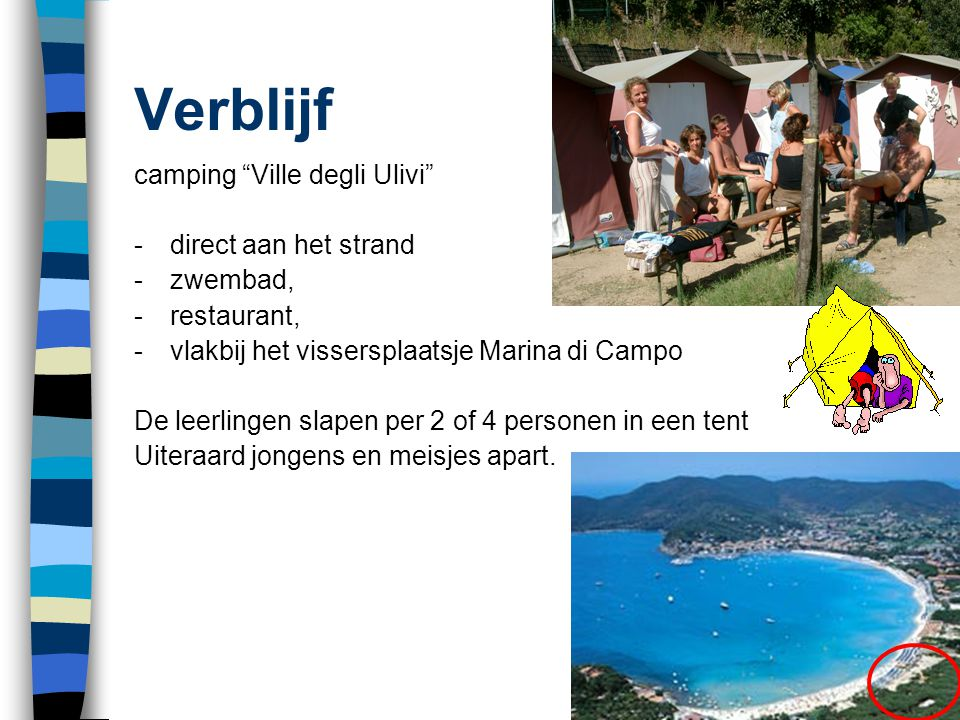 Verblijf camping Ville degli Ulivi - direct aan het strand
