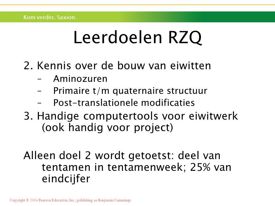 Leerdoelen RZQ 2. Kennis over de bouw van eiwitten