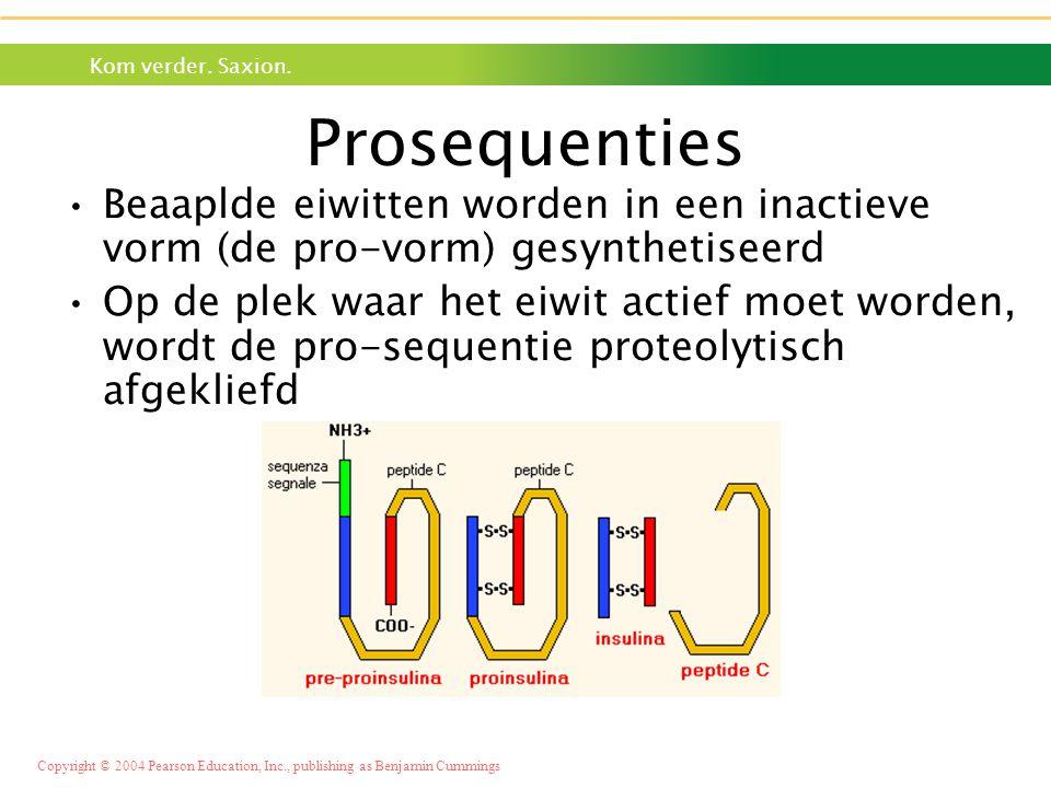 Prosequenties Beaaplde eiwitten worden in een inactieve vorm (de pro-vorm) gesynthetiseerd.