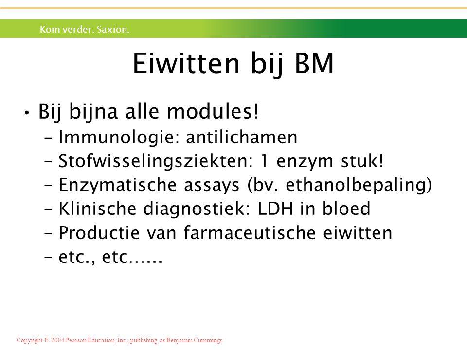 Eiwitten bij BM Bij bijna alle modules! Immunologie: antilichamen