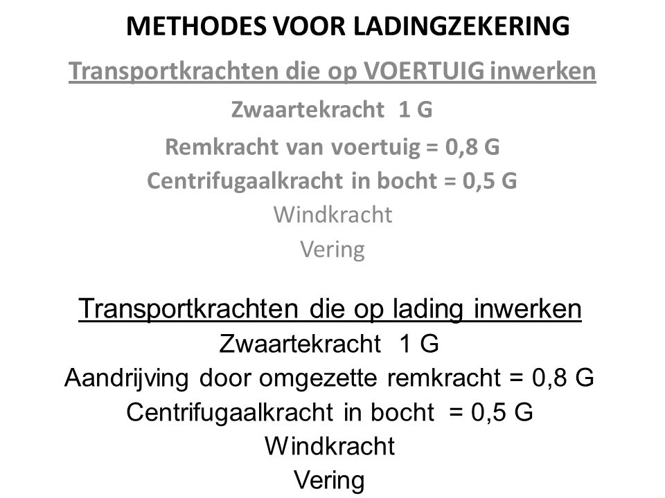 METHODES VOOR LADINGZEKERING