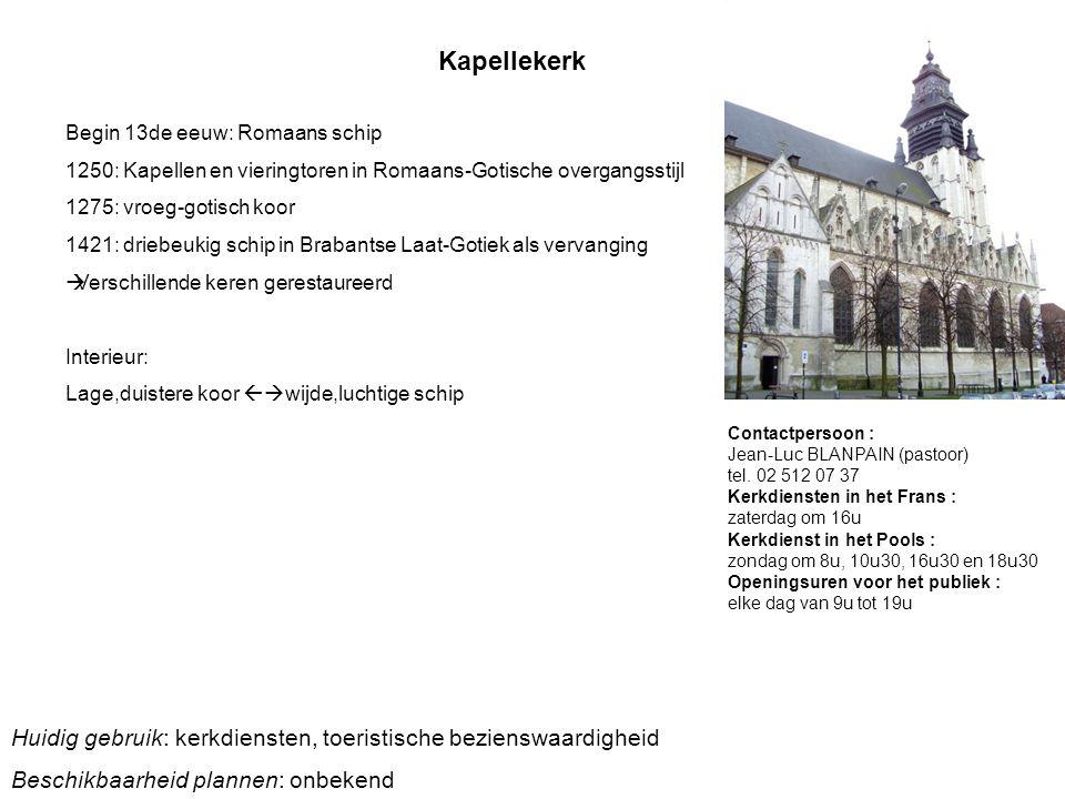 Kapellekerk Begin 13de eeuw: Romaans schip. 1250: Kapellen en vieringtoren in Romaans-Gotische overgangsstijl.