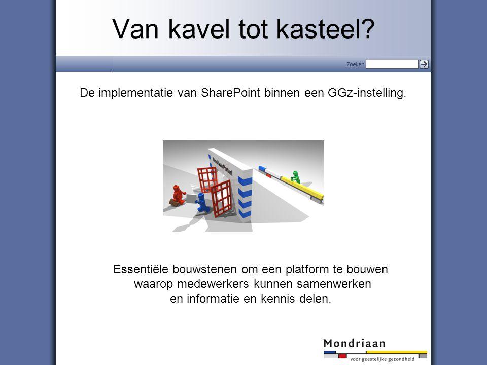 Van kavel tot kasteel De implementatie van SharePoint binnen een GGz-instelling. Essentiële bouwstenen om een platform te bouwen.