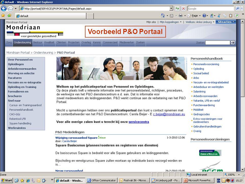 Voorbeeld P&O Portaal