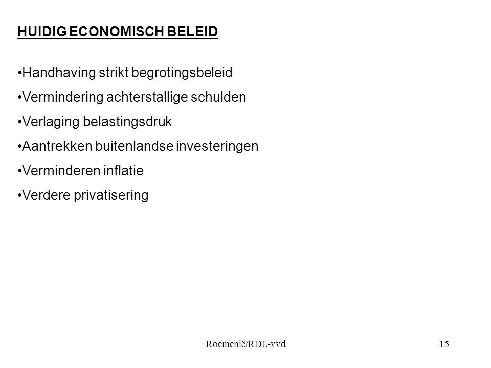 HUIDIG ECONOMISCH BELEID Handhaving strikt begrotingsbeleid