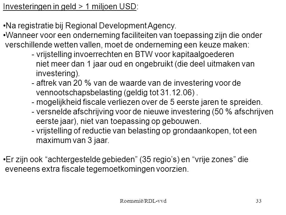 Investeringen in geld > 1 miljoen USD:
