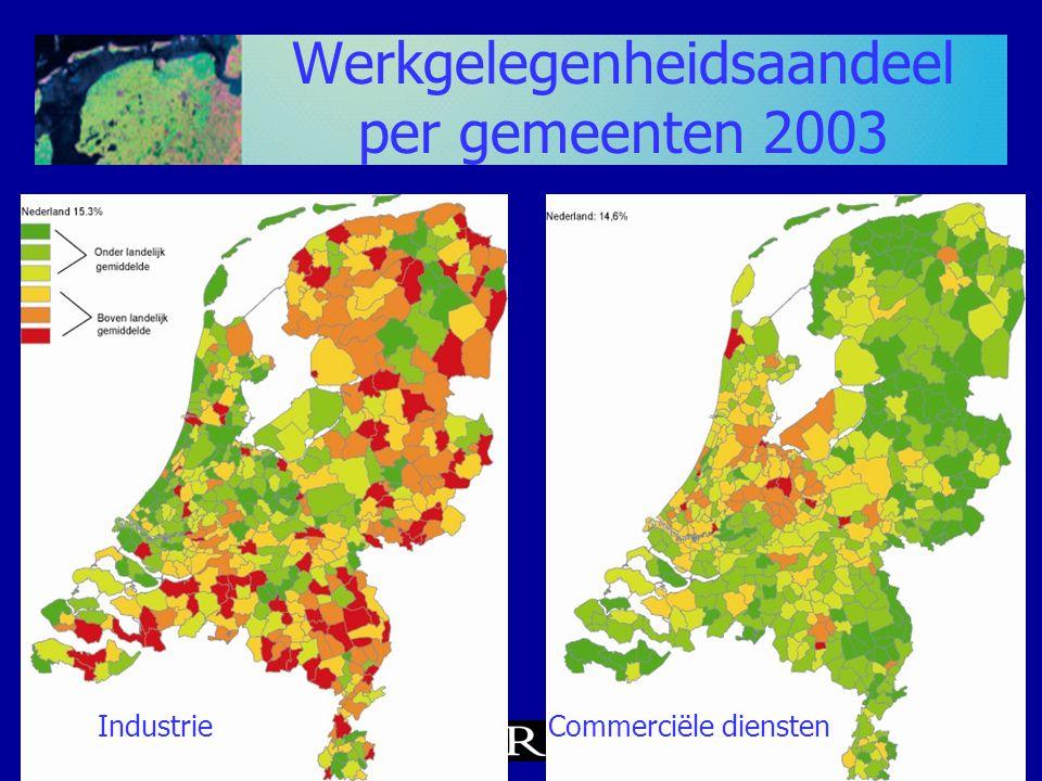 Werkgelegenheidsaandeel per gemeenten 2003