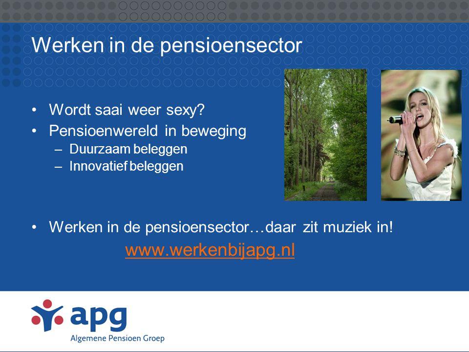 Werken in de pensioensector