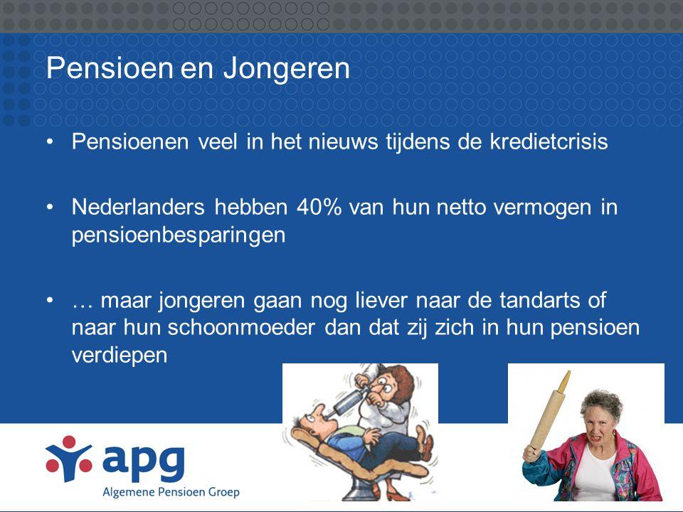 Pensioen en Jongeren Pensioenen veel in het nieuws tijdens de kredietcrisis. Nederlanders hebben 40% van hun netto vermogen in pensioenbesparingen.