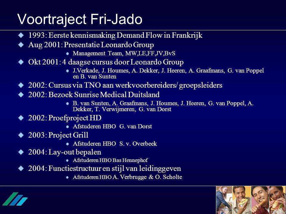 Voortraject Fri-Jado 1993: Eerste kennismaking Demand Flow in Frankrijk. Aug 2001: Presentatie Leonardo Group.