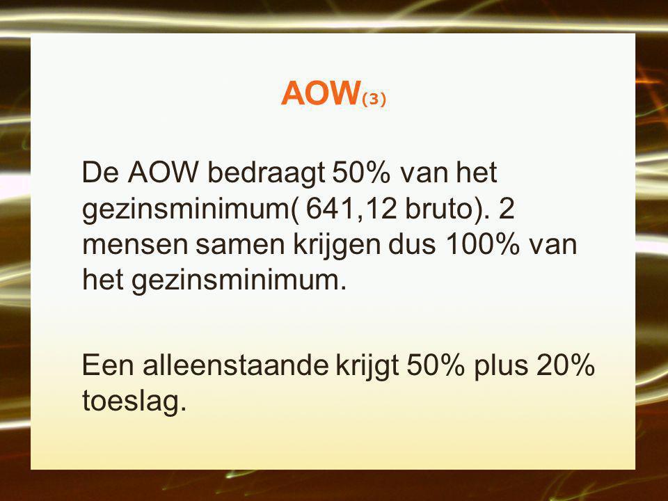 AOW(3) De AOW bedraagt 50% van het gezinsminimum( 641,12 bruto). 2 mensen samen krijgen dus 100% van het gezinsminimum.