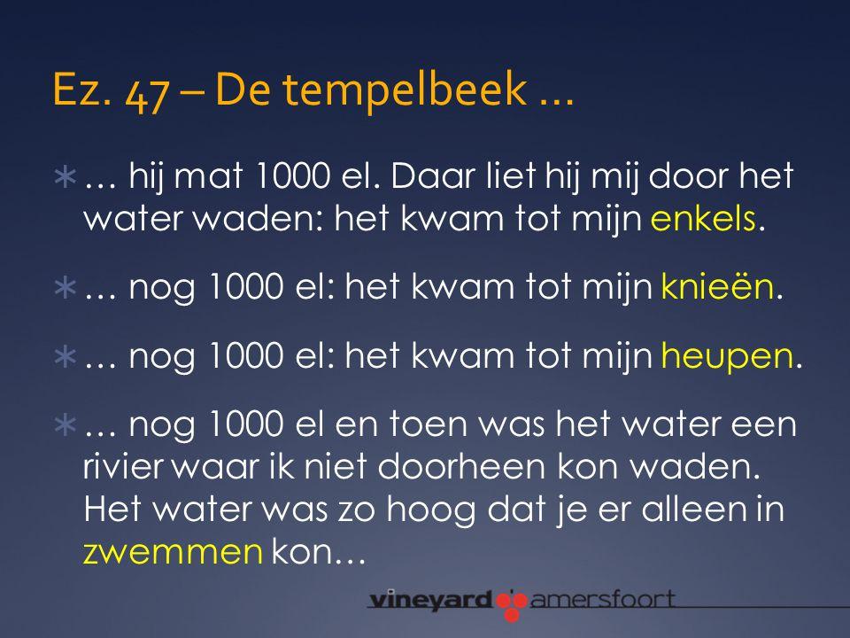 Ez. 47 – De tempelbeek … … hij mat 1000 el. Daar liet hij mij door het water waden: het kwam tot mijn enkels.
