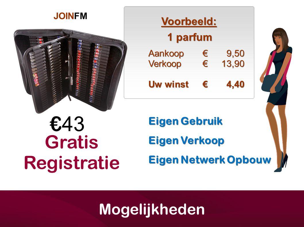 €43 Gratis Registratie Mogelijkheden Voorbeeld: 1 parfum Eigen Gebruik