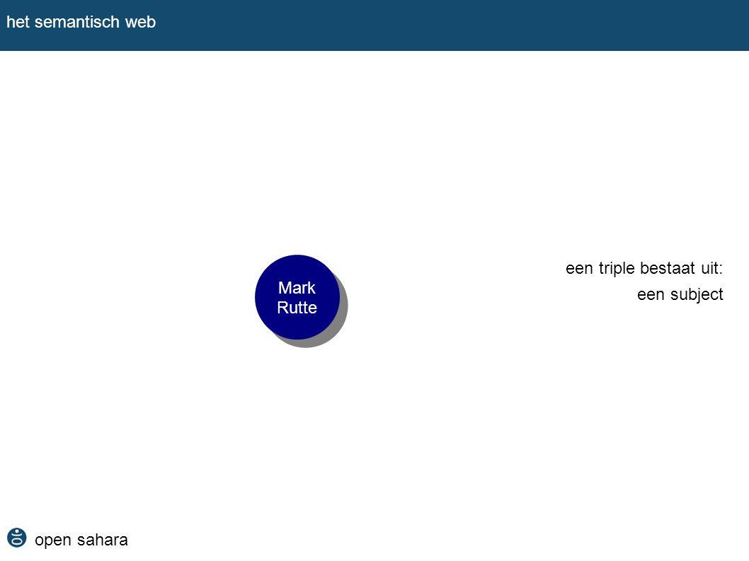 het semantisch web Mark Rutte een triple bestaat uit: een subject open sahara