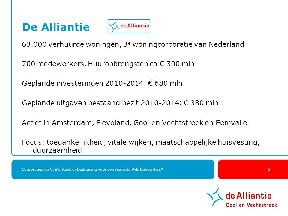 De Alliantie 63.000 verhuurde woningen, 3e woningcorporatie van Nederland. 700 medewerkers, Huuropbrengsten ca € 300 mln.