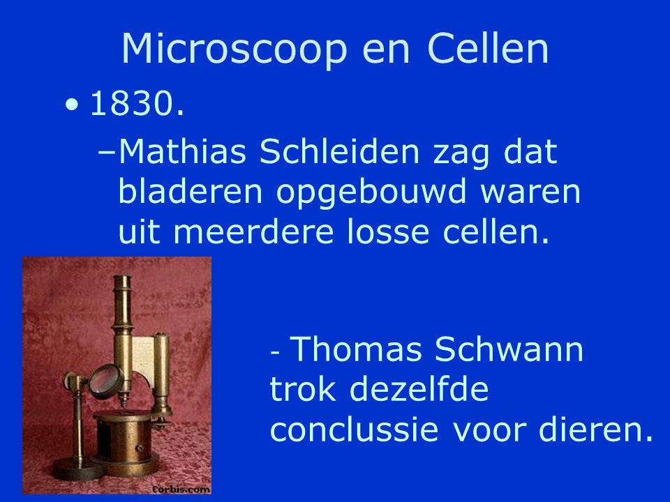 Microscoop en Cellen 1830. Mathias Schleiden zag dat bladeren opgebouwd waren uit meerdere losse cellen.