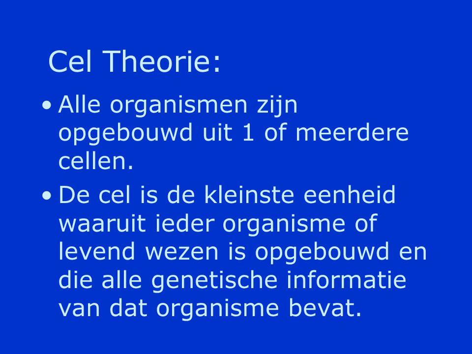 Cel Theorie: Alle organismen zijn opgebouwd uit 1 of meerdere cellen.