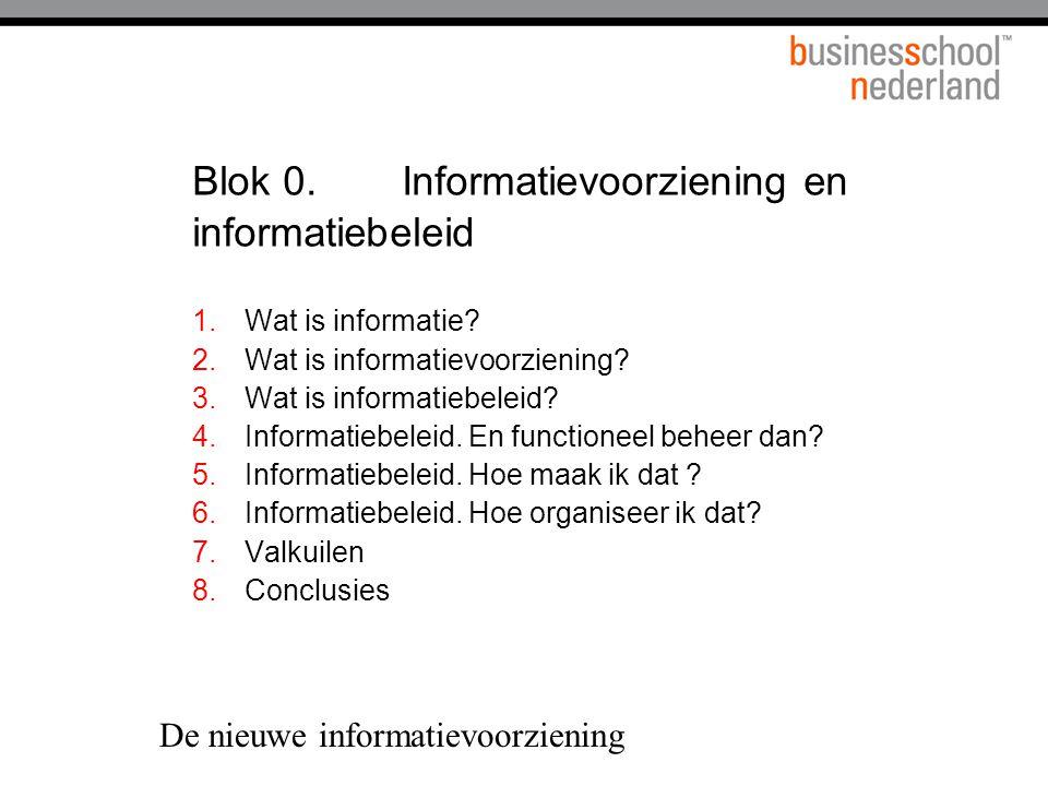 Blok 0. Informatievoorziening en informatiebeleid