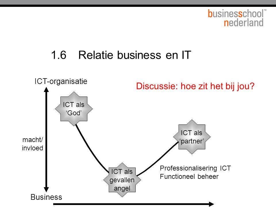 1.6 Relatie business en IT Discussie: hoe zit het bij jou