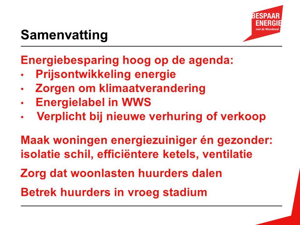 Samenvatting Energiebesparing hoog op de agenda: