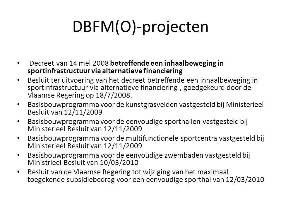 DBFM(O)-projecten Decreet van 14 mei 2008 betreffende een inhaalbeweging in sportinfrastructuur via alternatieve financiering.
